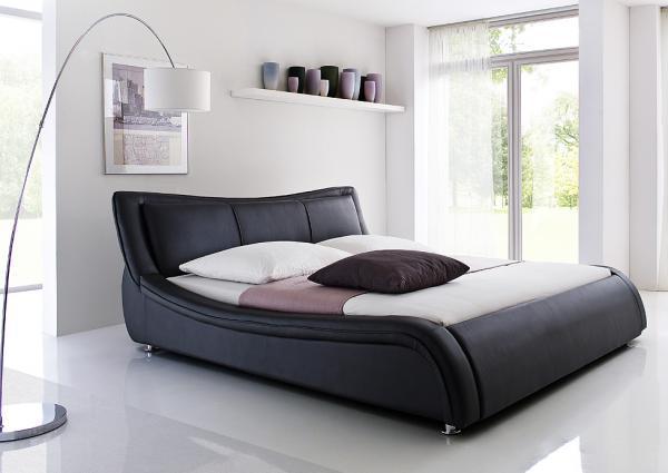 Design bed Wave, 160 x 200 cm, black   Netbed
