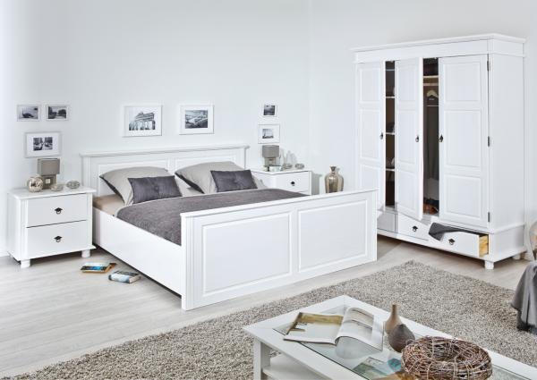 Slaapkamer Massief Hout : Massief houten slaapkamer jette wit cm met deurs