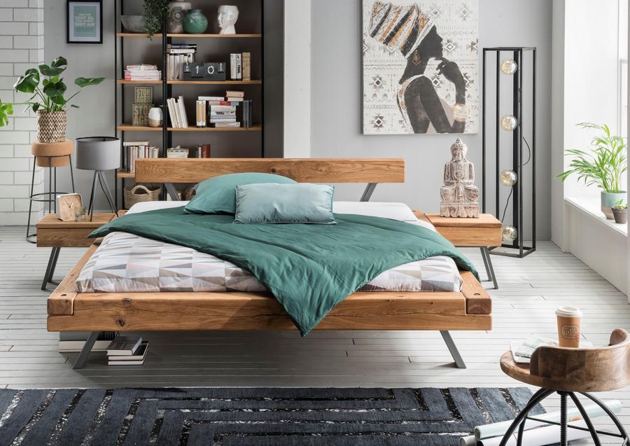 Massief houten bed nils comfort 140 x 200 cm beuken met voeteind bank netbed - Massief houten platform bed ...
