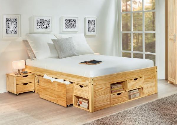Landelijk Grenen Bed.Massief Houten Bed Carlos 140 X 200 Cm Natuur Incl 1