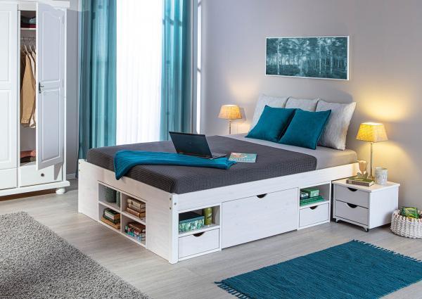 Massief houten bed tara 140 x 200 cm wit incl 1 latttenbodem netbed - Massief houten platform bed ...
